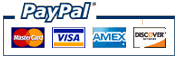 PayPal payment methods: MasterCard, VISA, American Express, Discover