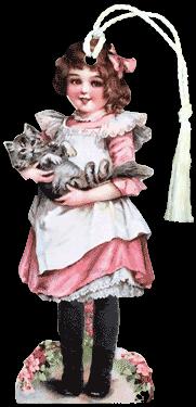 Girl Holding Cat Bookmark