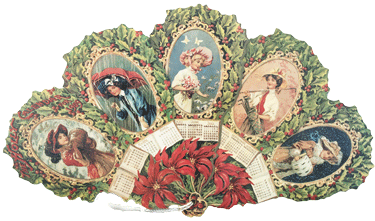 1909 Calendar Victorian Ladies Fan