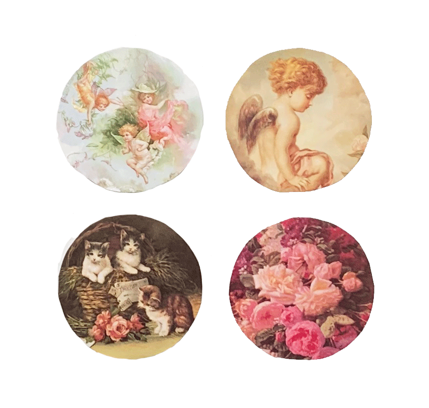 Roses Kittens Cherub Mirror