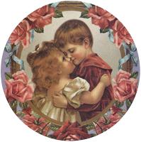 Boy Hugging Girl Roses Mirror