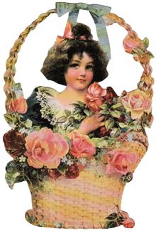 Girl in Blue Basket Gift Holder