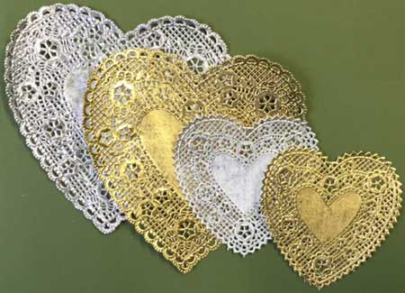 Gold Silver Heart Paper Lace Doilies