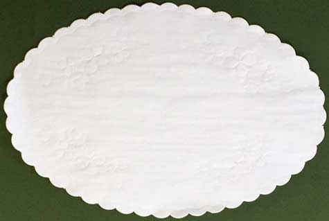 Floral Embossed Oval Linen Doily