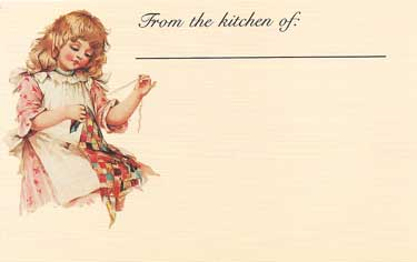 Girl Sewing Recipe Cards