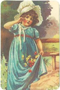 Girl in Blue Dress & Bonnet Verse Card